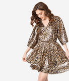 Leopard Print Metallic Kimono Sleeve Dress