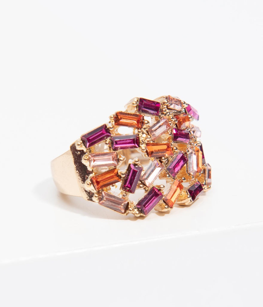 Pink & Purple Baguette Rhinestone Stretch Ring