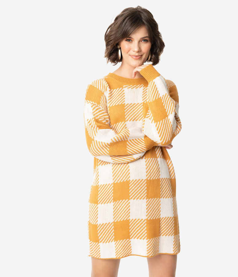 Mustard & Ivory Checkered Knit Long Sleeve Sweater Dress