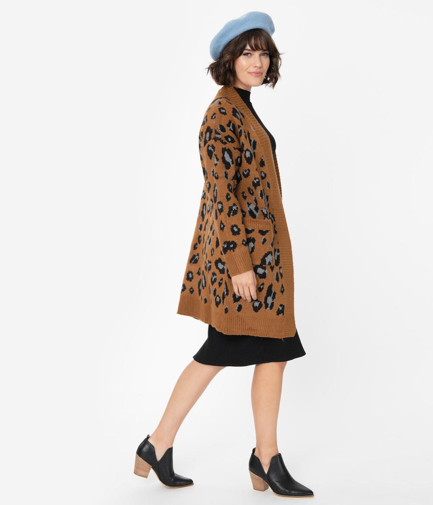 Brown Leopard Print Knit Sleeved Open Long Cardigan