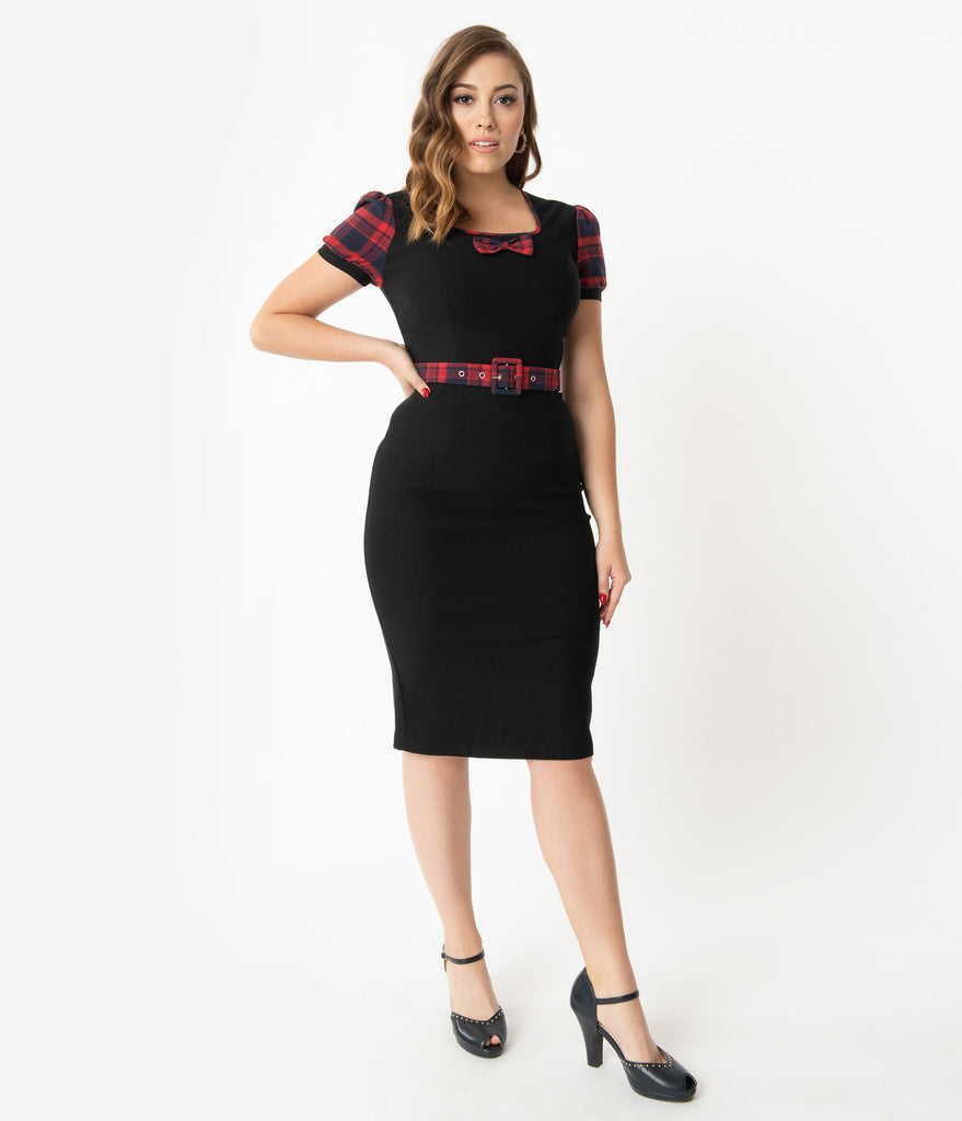 Black & Red Plaid Belted Wiggle Dress