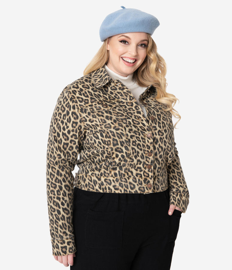 Plus Size Leopard Print Denim Jacket