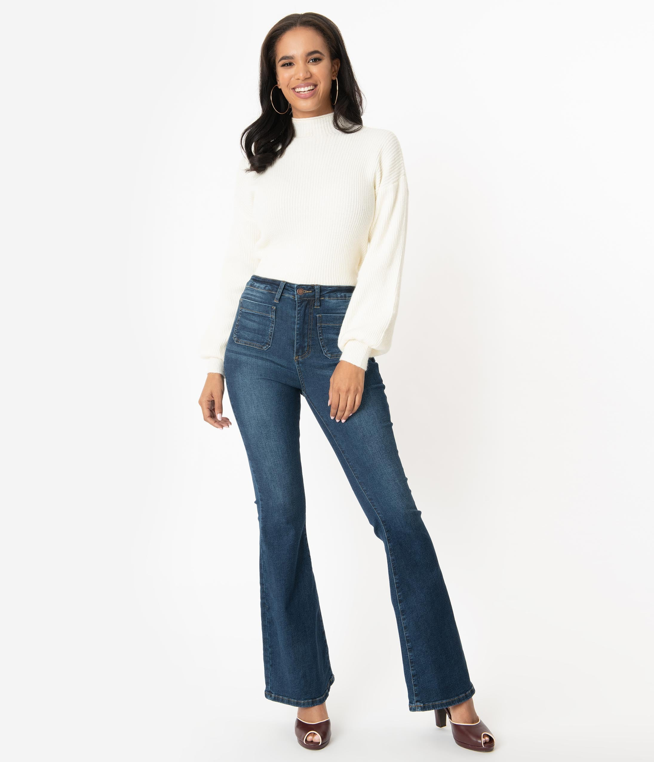 70s Outfits – 70s Style Ideas for Women Retro Blue Denim Bell Bottom Jeans $58.00 AT vintagedancer.com