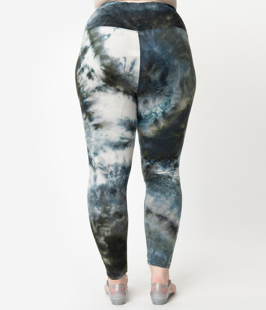 Plus Size Black & Blue Tie Dye High Waist Leggings