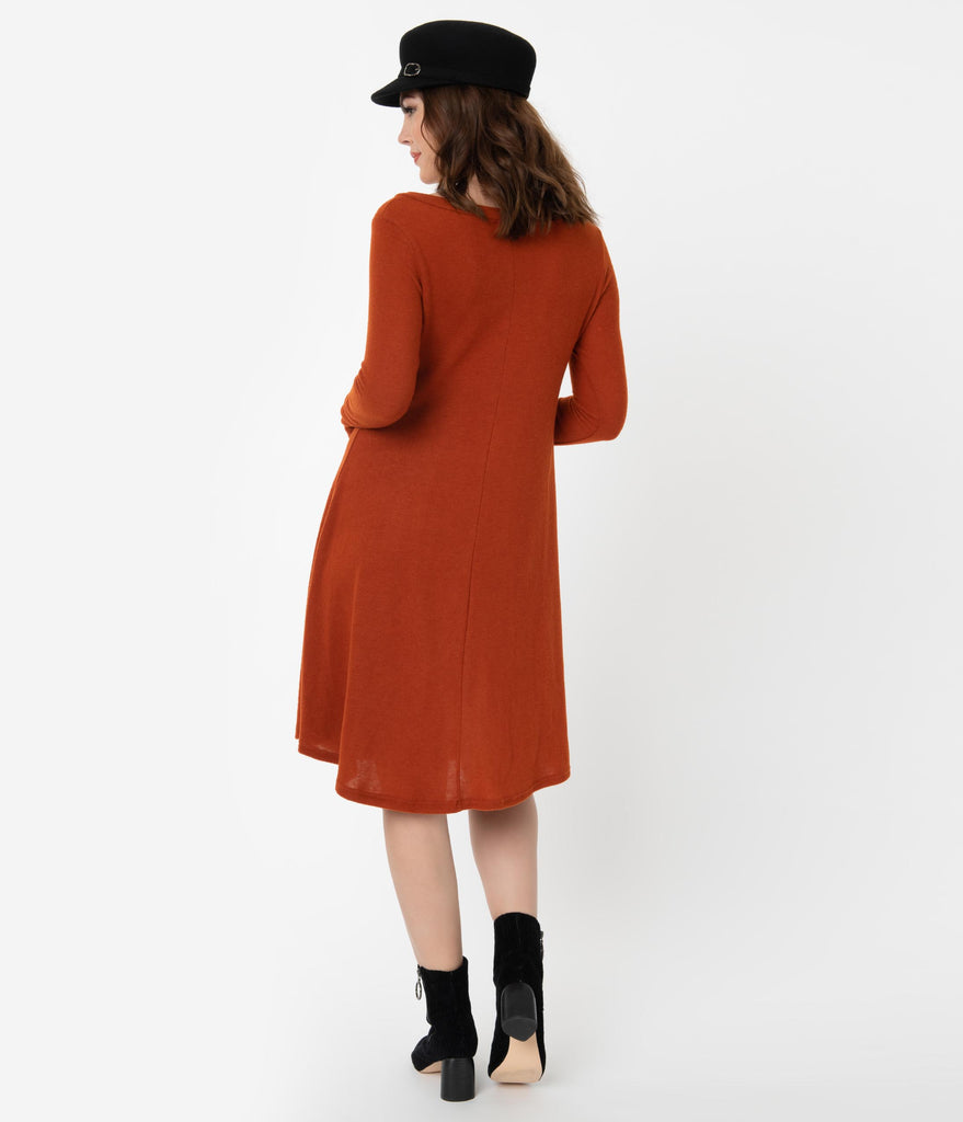 Rust Long Sleeve Brushed Shift Dress