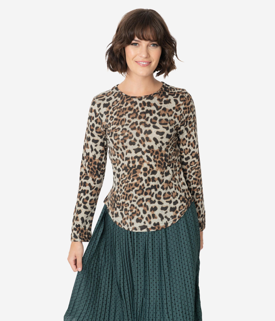 Leopard Print Long Sleeve Fitted Sweater