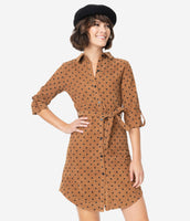Collared 3/4 Sleeves Corduroy Polka Dots Print Back Yoke Vintage Shirt Dress With a Sash