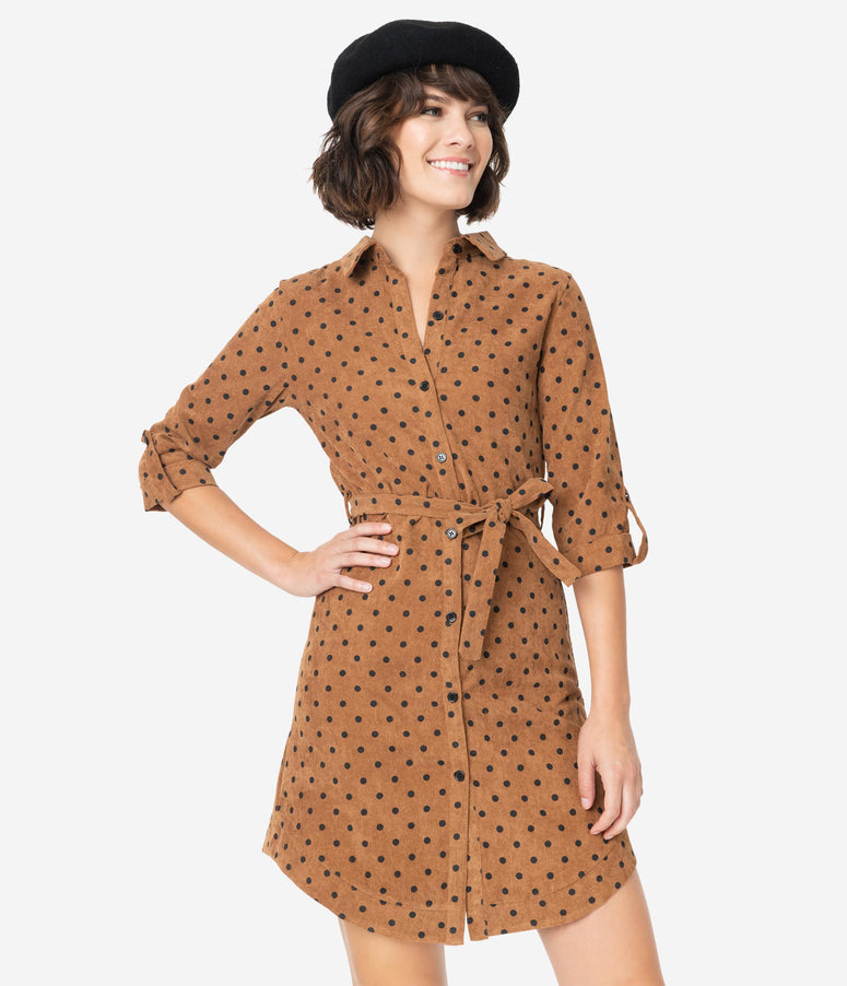 Retro Style Brown & Black Polka Dot Corduroy Button Up Shirt Dress