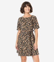 Modest Elbow Length Sleeves Fit-and-Flare Animal Leopard Print Scoop Neck Back Zipper Fitted Corduroy Skater Dress With a Sash