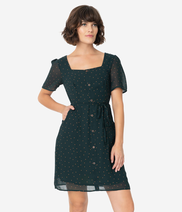 Dark Green & Tan Pin Dot Chiffon Short Sleeve Fit & Flare Dress