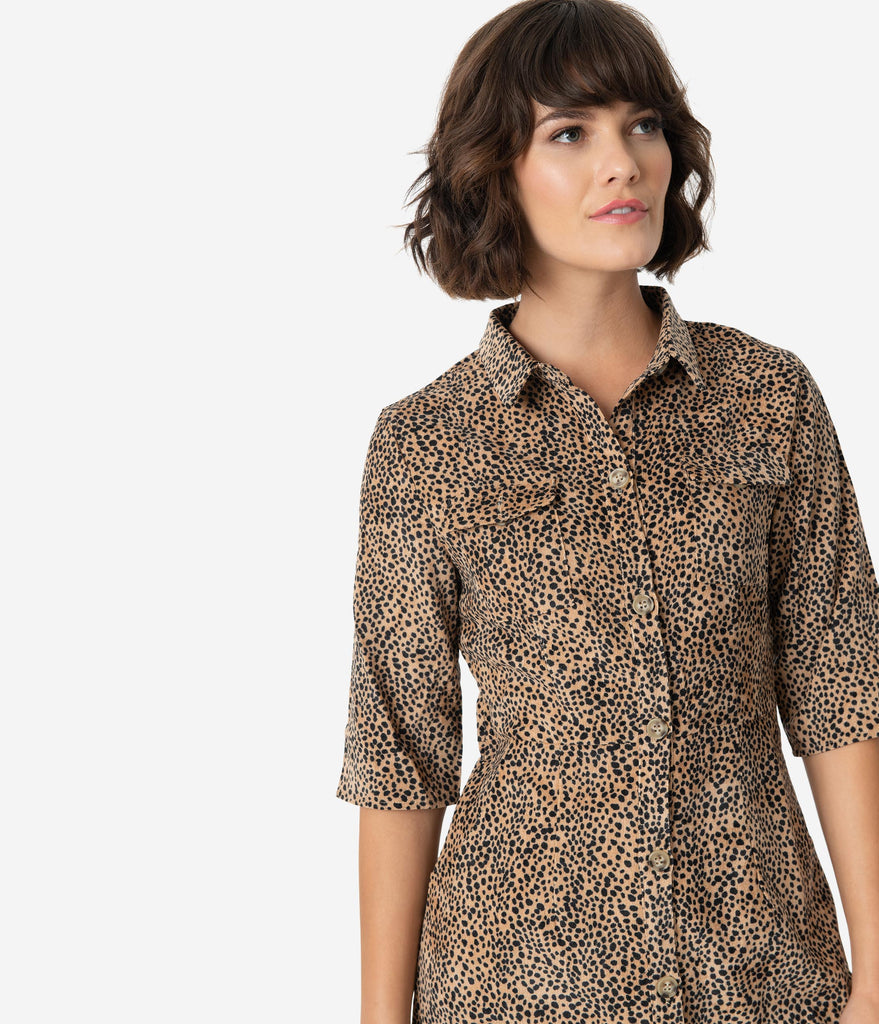 Retro Style Brown Cheetah Print Corduroy Button Up Shirt Dress