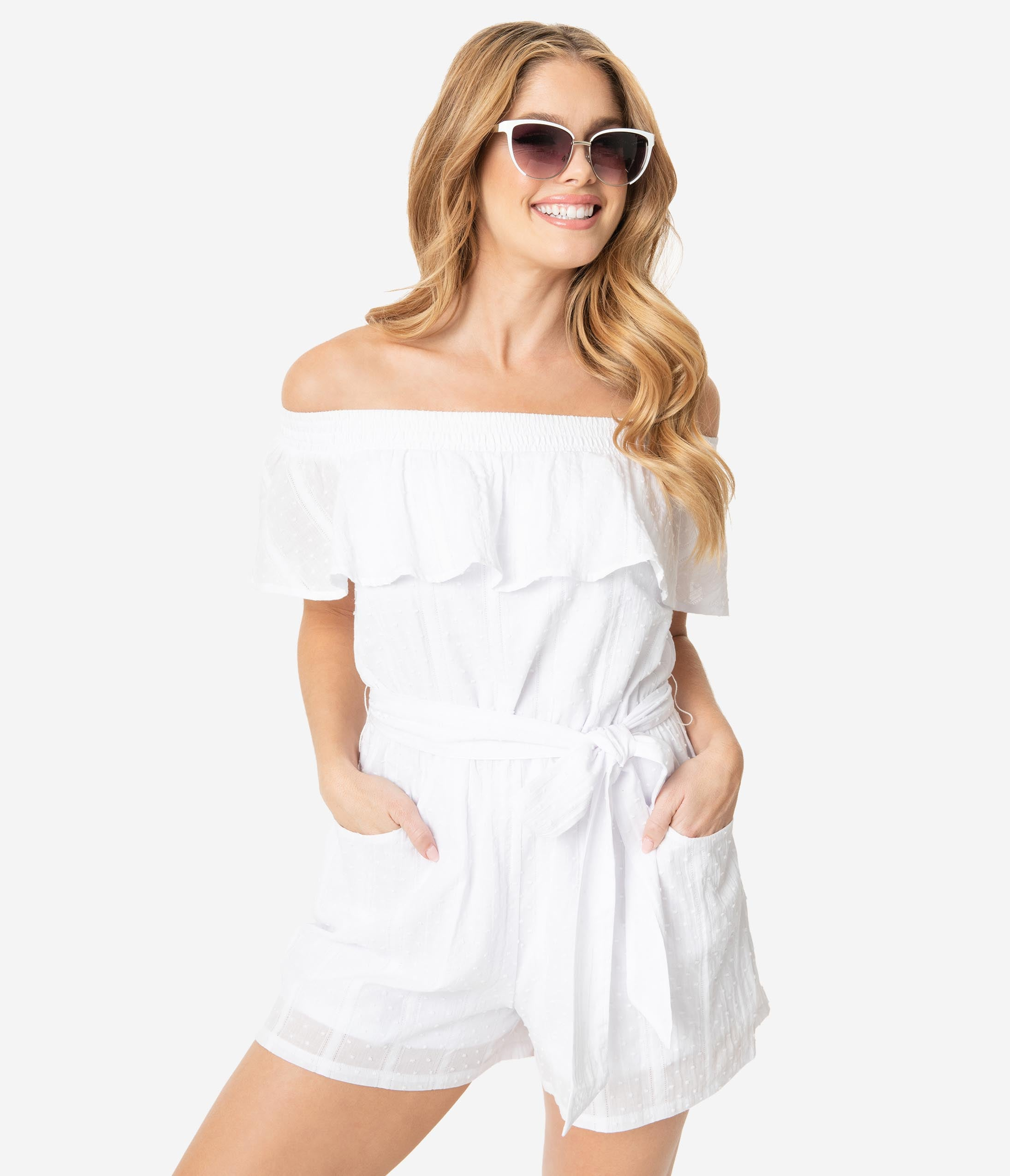 Vintage Rompers, Playsuits | Retro, Pin Up, Rockabilly Playsuits Unique Vintage White Swiss Dotted Off Shoulder Allie Romper $68.00 AT vintagedancer.com