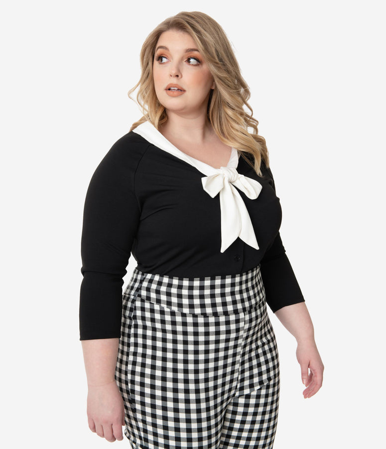 Unique Vintage Plus Size 1950s Black & White Bow Tie Charlotte Top