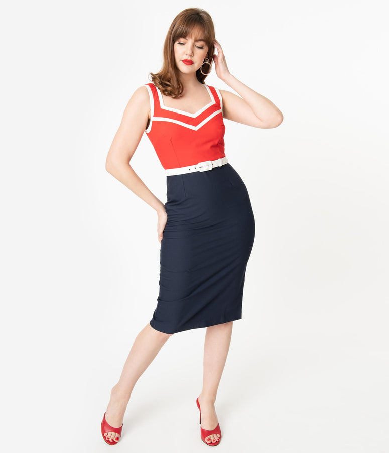 Glamour Bunny 1950s Red & Navy Barbara Pencil Dress