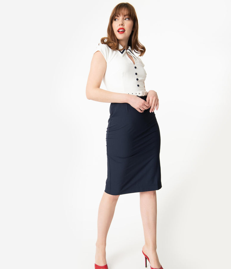Glamour Bunny Ivory & Navy Blue Cap Sleeve Gina Wiggle Dress