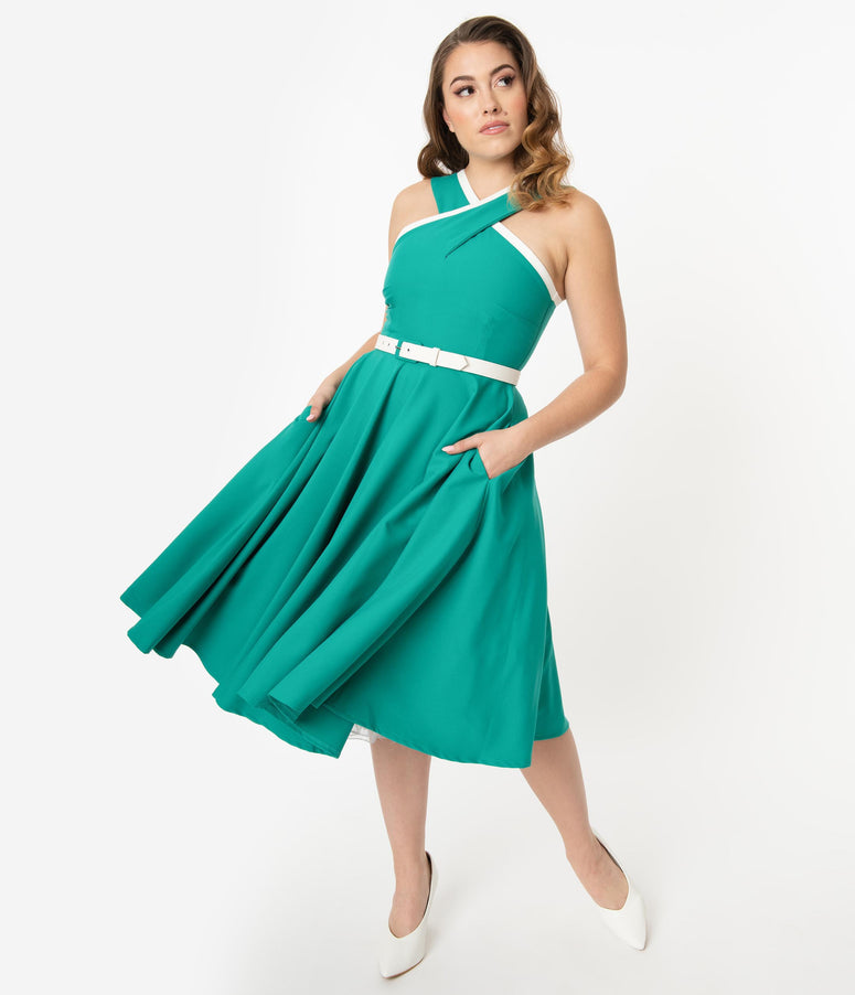 Glamour Bunny 1950s Jade Dorothy Swing Dress