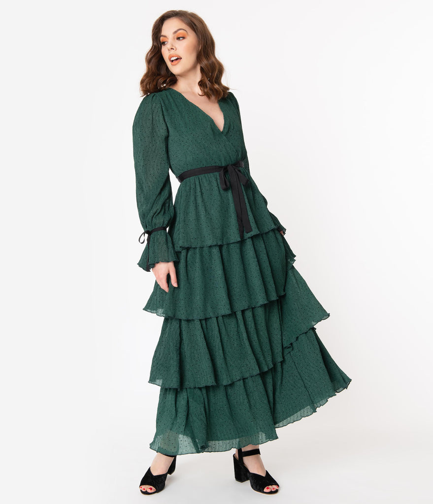 Emerald Green & Black Polka Dot Long Sleeve Tiered Maxi Dress