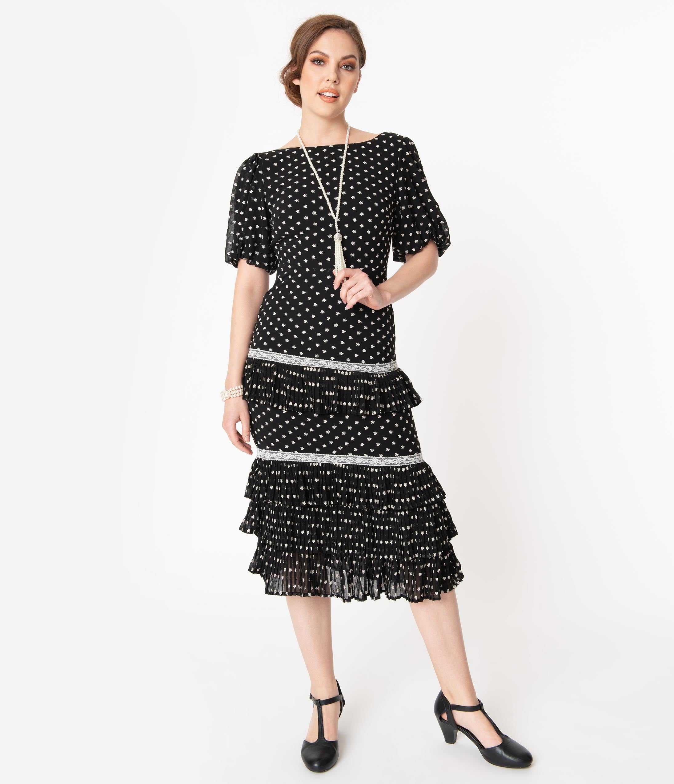 Modest, Mature, Mrs. Vintage Dresses – 20s, 30s, 40s, 50s, 60s Retro Style Black Floral Print Tiered Midi Dress $82.00 AT vintagedancer.com