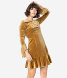 Vintage Style Golden Velvet Long Sleeve Drop Waist Fit & Flare Dress