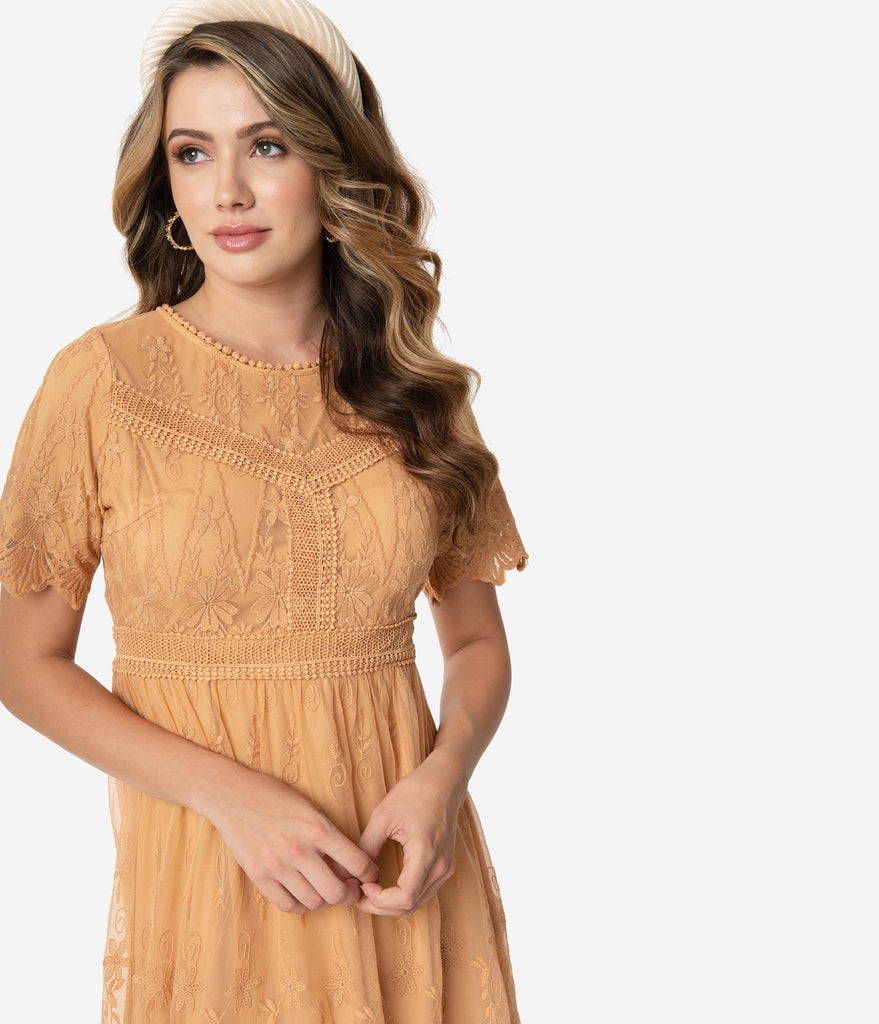 Vintage Style Tan Toffee Embroidered Mesh Midi Dress