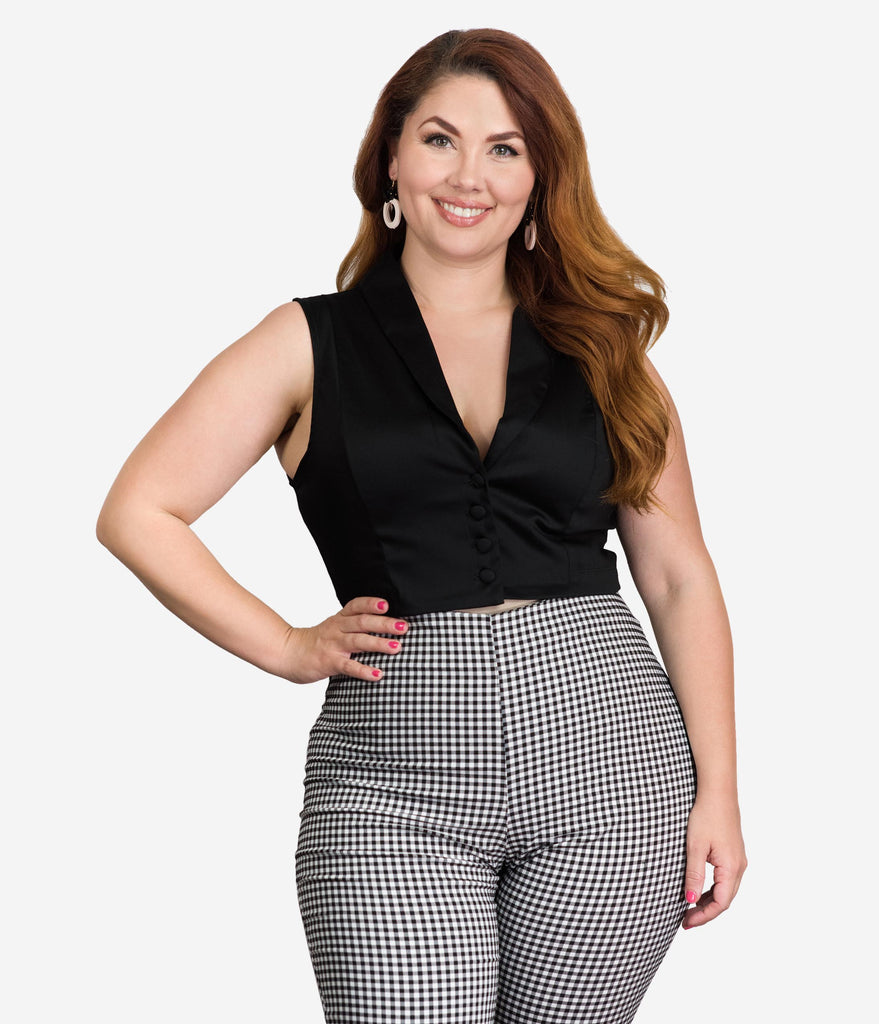 Bettie Page Plus Size Black Tucson Sleeveless Crop Top