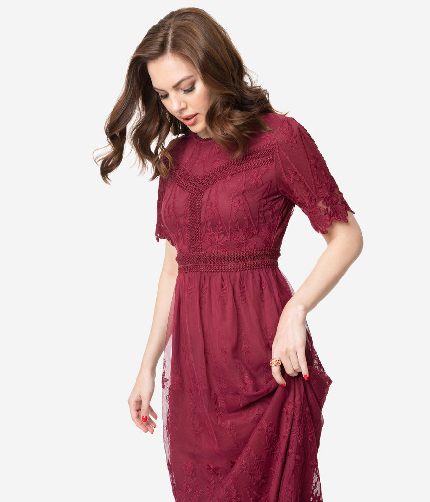 Vintage Style Wine Red Embroidered Mesh Midi Dress