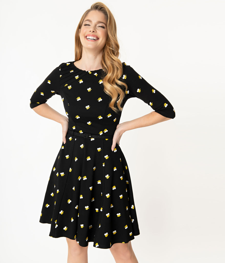 Unique Vintage Black & Yellow Bees Stephanie Fit & Flare Dress