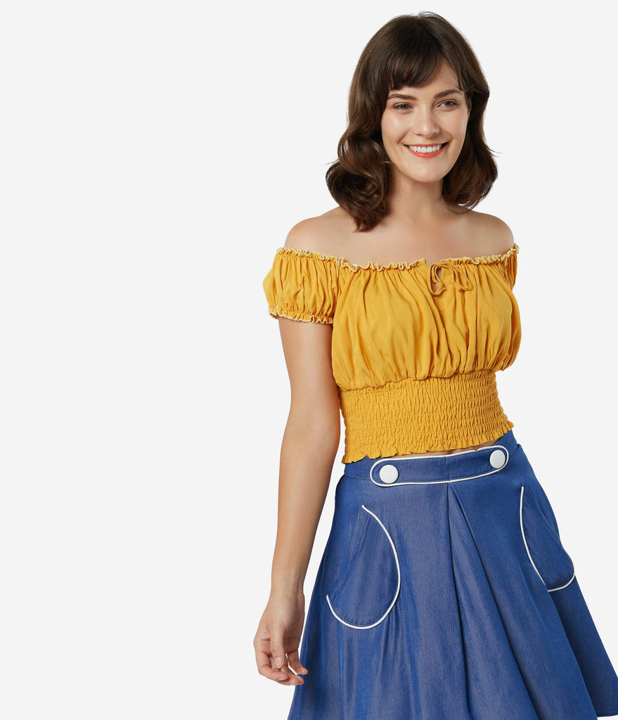 Bettie Page 1950s Mustard La Fiesta Crop Top