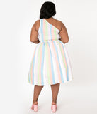 Bettie Page Plus Size Sherbet Striped Belinda Swing Dress