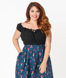 Bettie Page Plus Size 1950s Black La Fiesta Crop Top