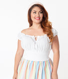 Bettie Page Plus Size 1950s White La Fiesta Crop Top