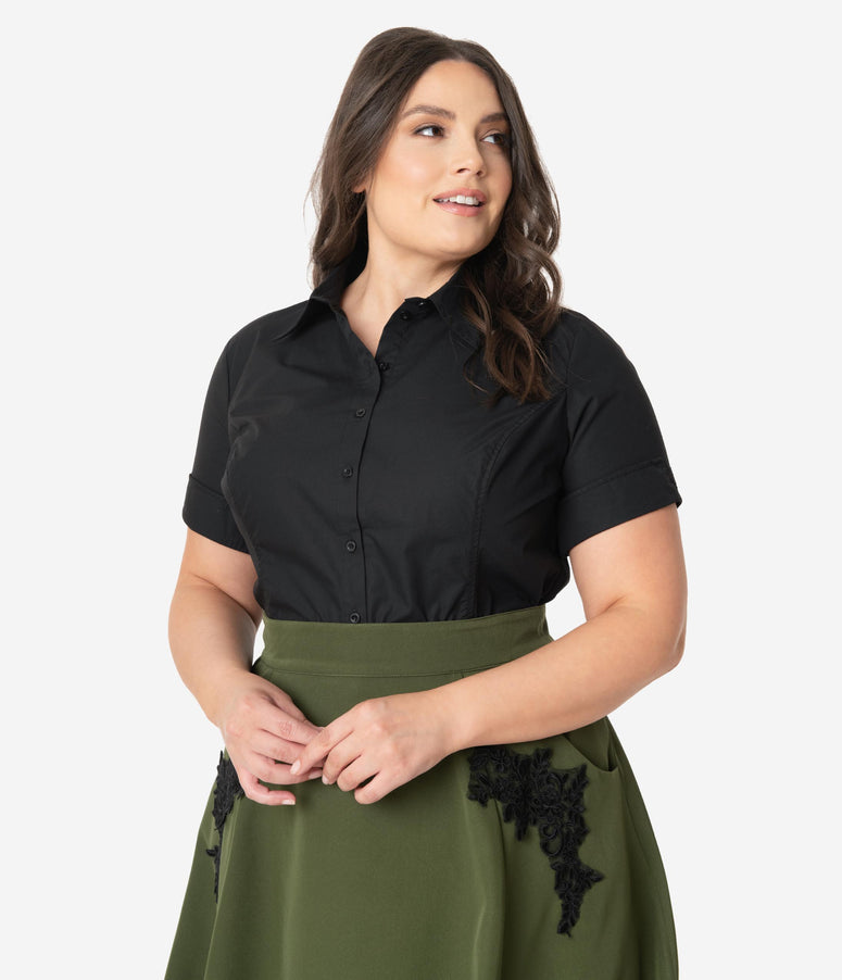 Unique Vintage Plus Size Black Mazzie Blouse