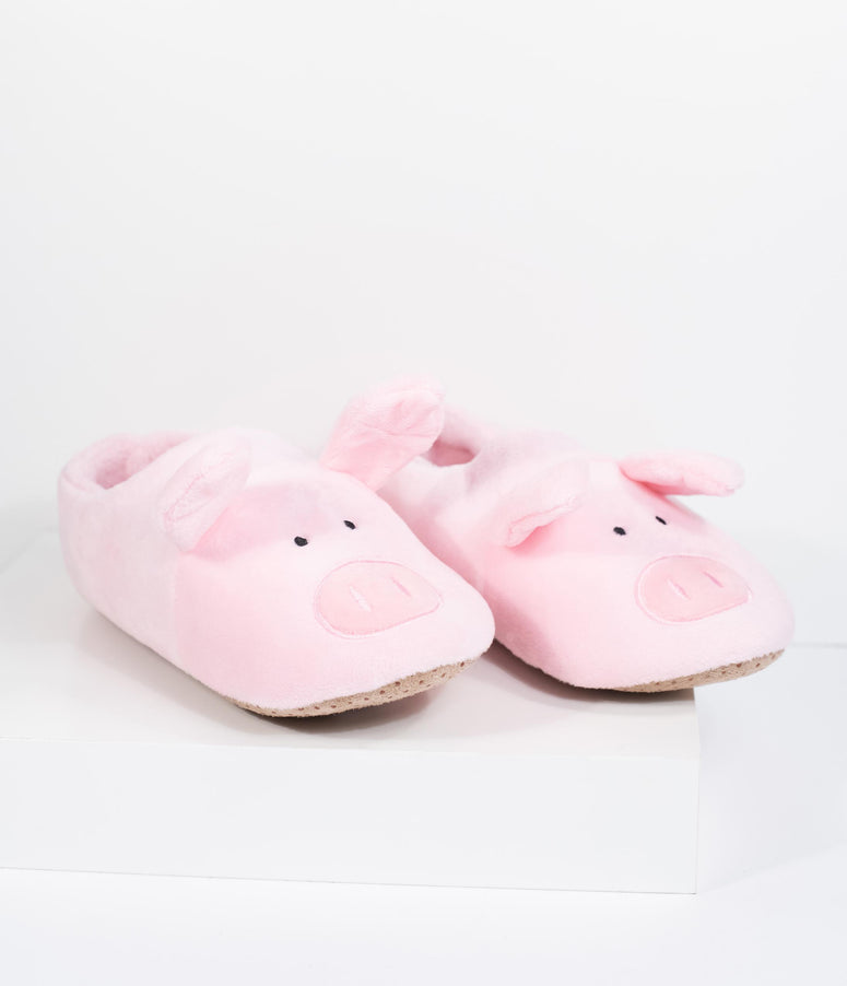Pink Plush Pig Slippers