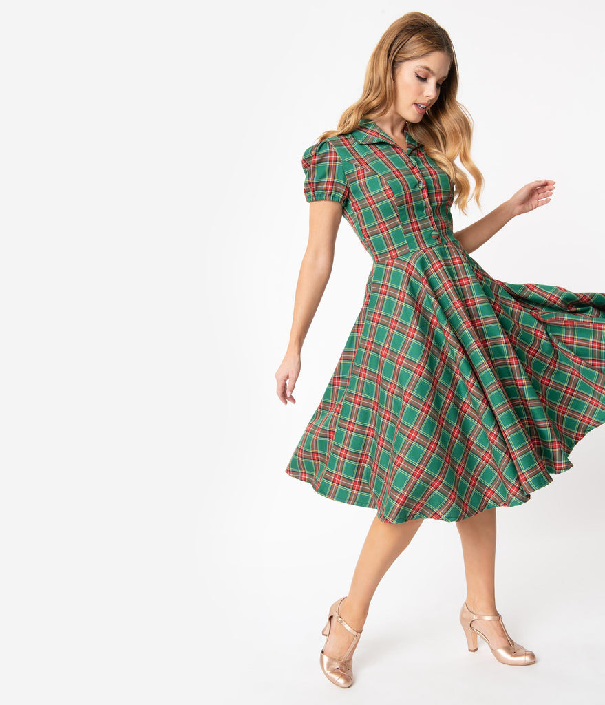 1950s Style Red & Green Holiday Plaid Mona Swing Dress
