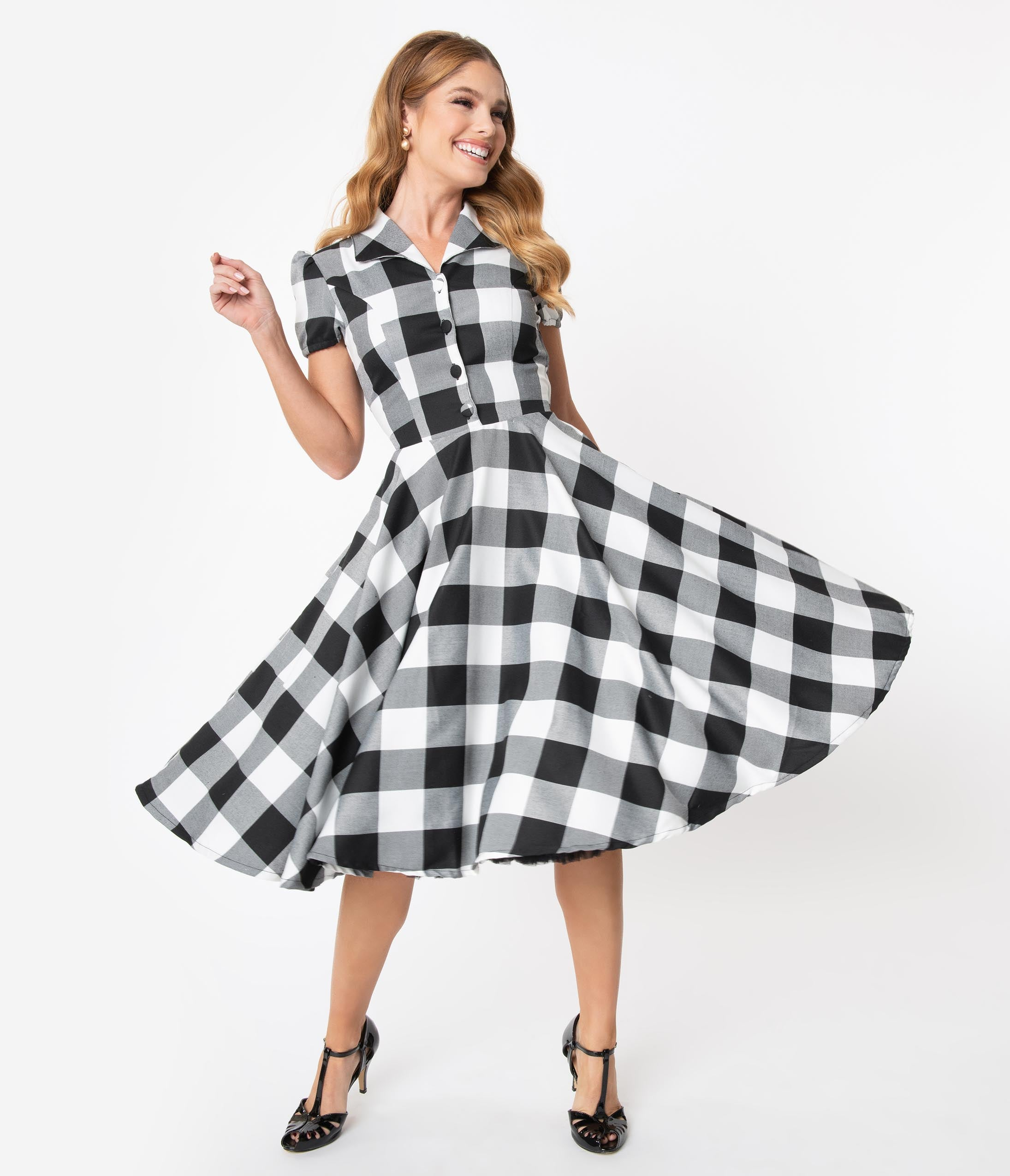 500 Vintage Style Dresses for Sale | Vintage Inspired Dresses 1950S Style Black  White Gingham Mona Swing Dress $78.00 AT vintagedancer.com