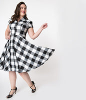 Plus Size Checkered Gingham Print Short Sleeves Sleeves Swing-Skirt Fitted Side Zipper Button Front Pocketed Party Dress