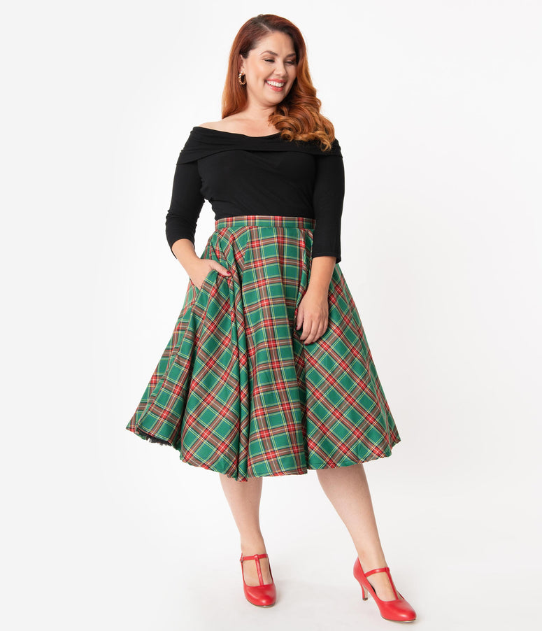 Plus Size 1950s Style Red & Green Tartan Swing Skirt