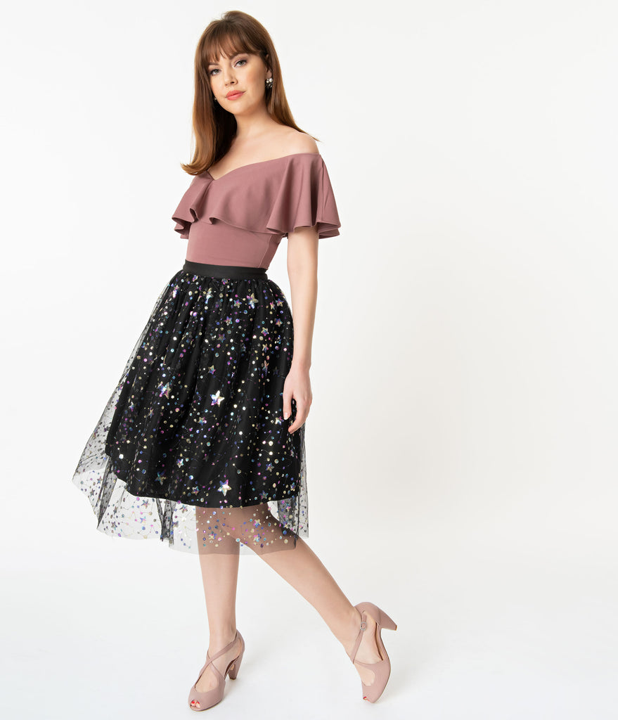 Black Tulle & Multicolor Sequin Stars Swing Skirt