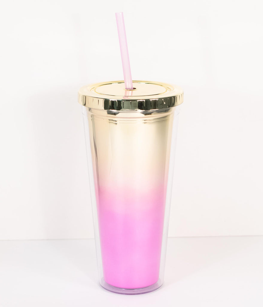 Gold & Pink Metallic Ombre Tumbler Cup