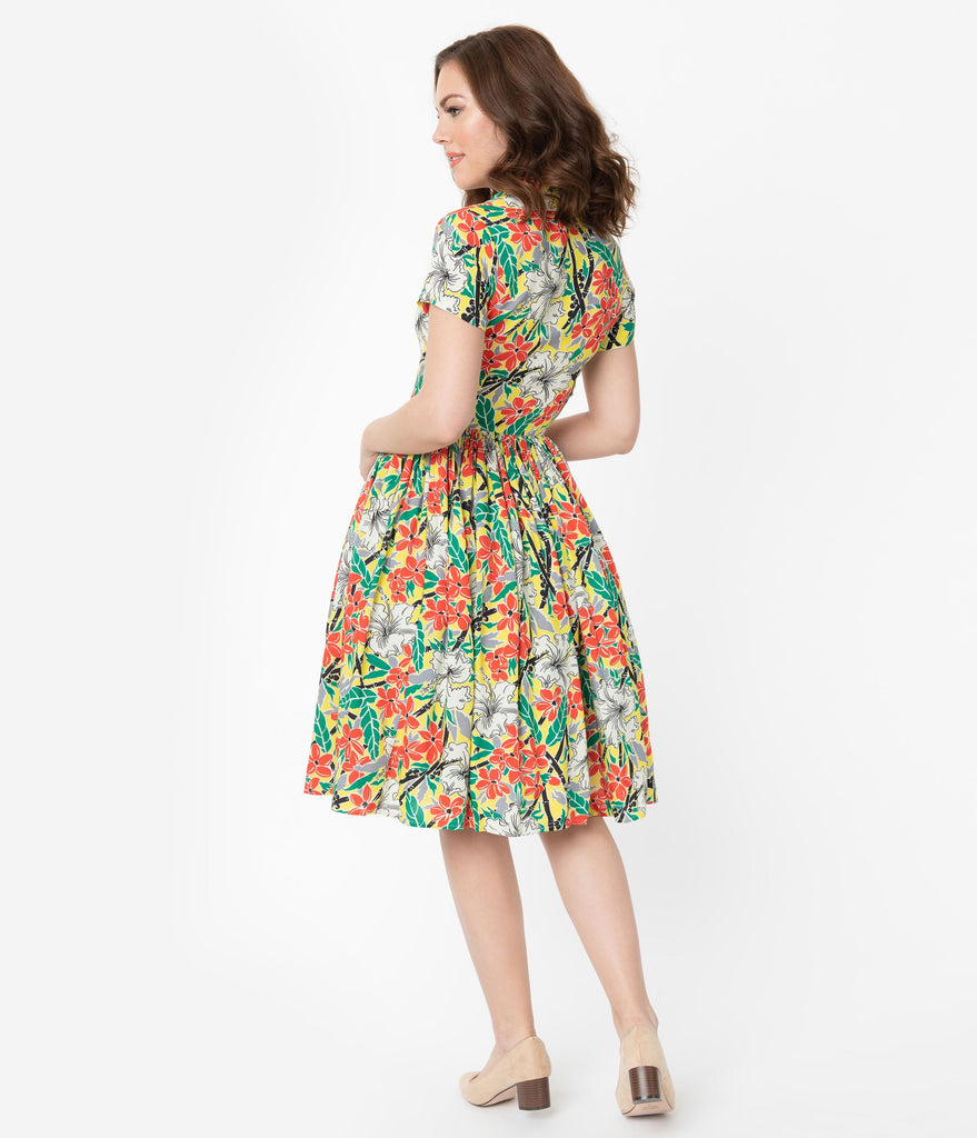 Bernie Dexter 1950s Red & Yellow Bamboo Plumeria Floral Print Francis Swing Dress