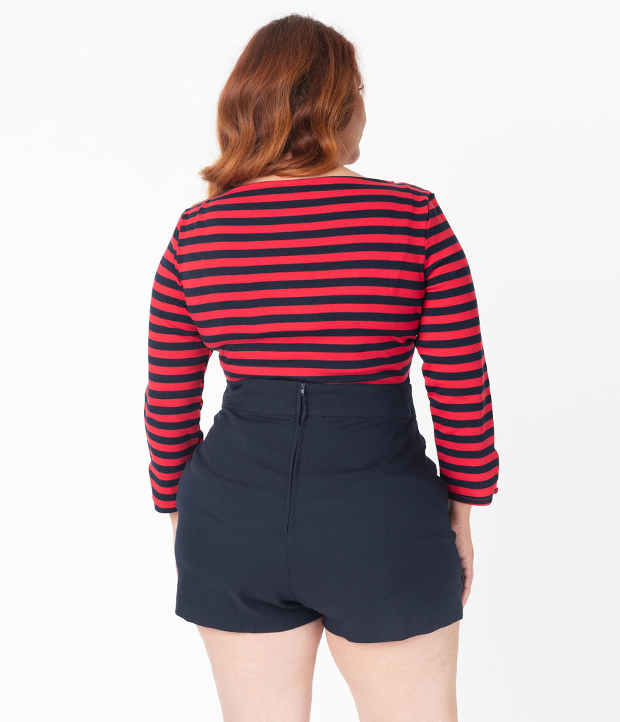 Unique Vintage Plus Size Red & Navy Stripe Knit Gracie Top