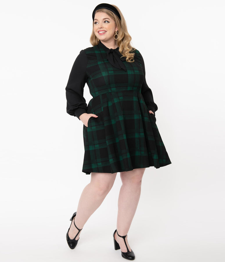 Smak Parlour Plus Size Black & Green Plaid She.E.O. Fit & Flare Dress