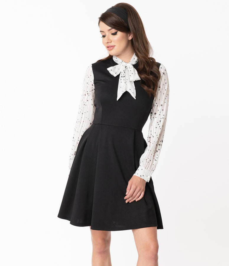 Smak Parlour Black & Star Print She.E.O. Fit & Flare Dress