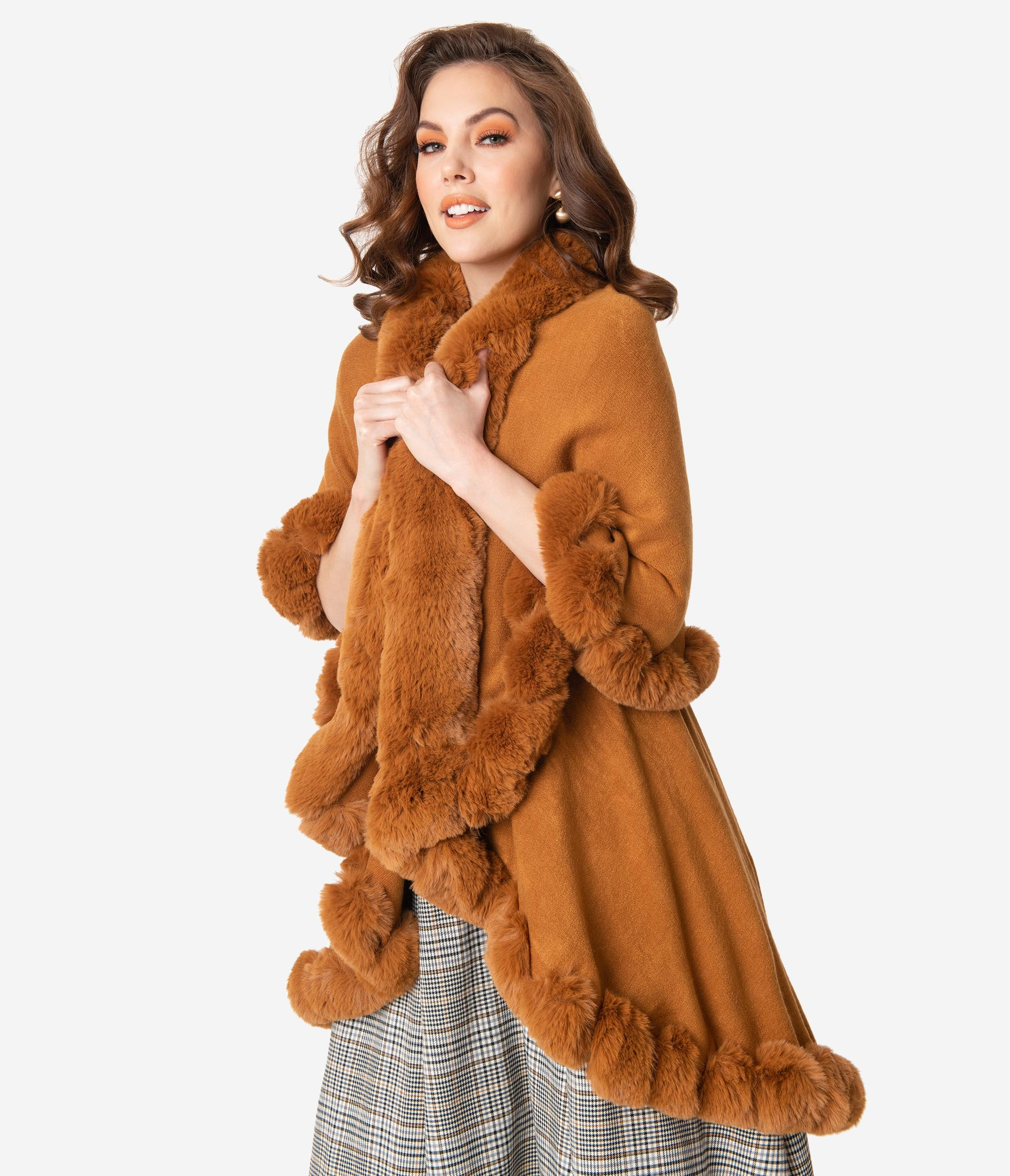 Victorian Capelet, Cape, Cloak, Shawl, Muff Vintage Style Camel Brown Faux Fur Trimmed Shawl $78.00 AT vintagedancer.com