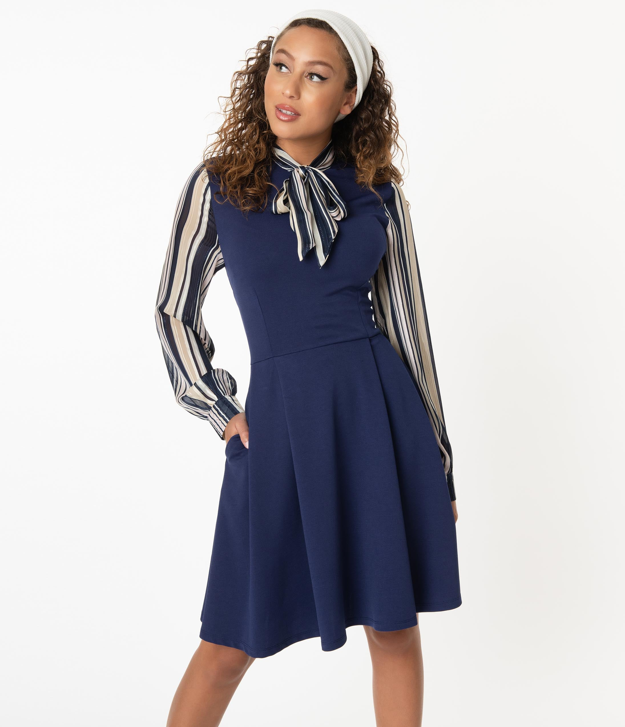 Vintage Style Dresses | Vintage Inspired Dresses Smak Parlour Navy  Shimmer Stripe She.e.o. Fit  Flare Dress $78.00 AT vintagedancer.com