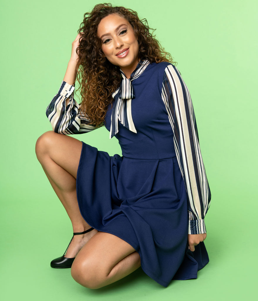 Smak Parlour Navy & Shimmer Stripe She.E.O. Fit & Flare Dress