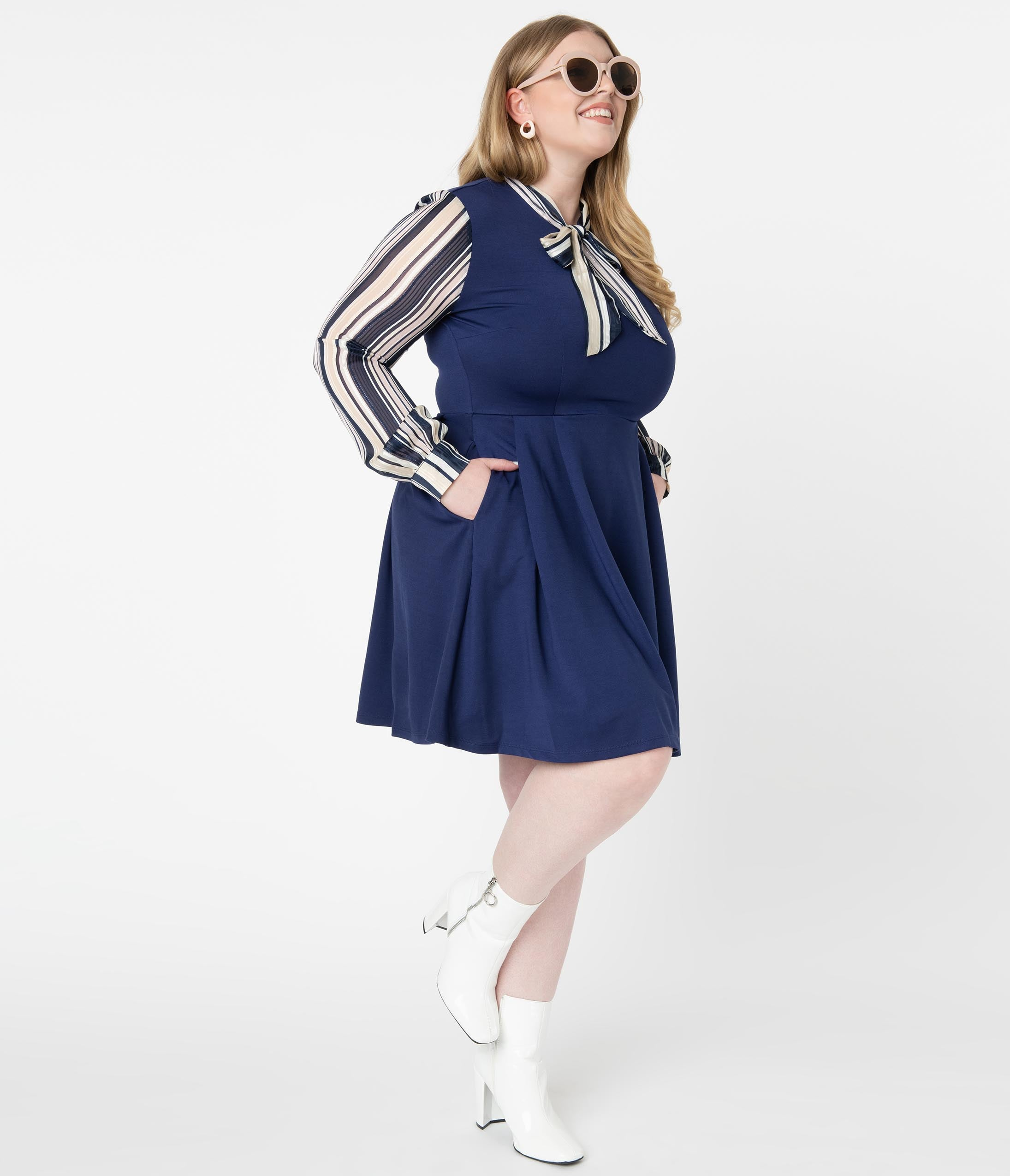 70s Dresses – Disco Dress, Hippie Dress, Wrap Dress Smak Parlour Plus Size Navy  Shimmer Stripe She.e.o. Fit  Flare Dress $78.00 AT vintagedancer.com