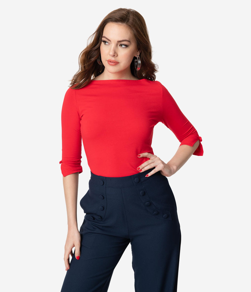 Retro Red Three-Quarter Bow Sleeve Knit Top