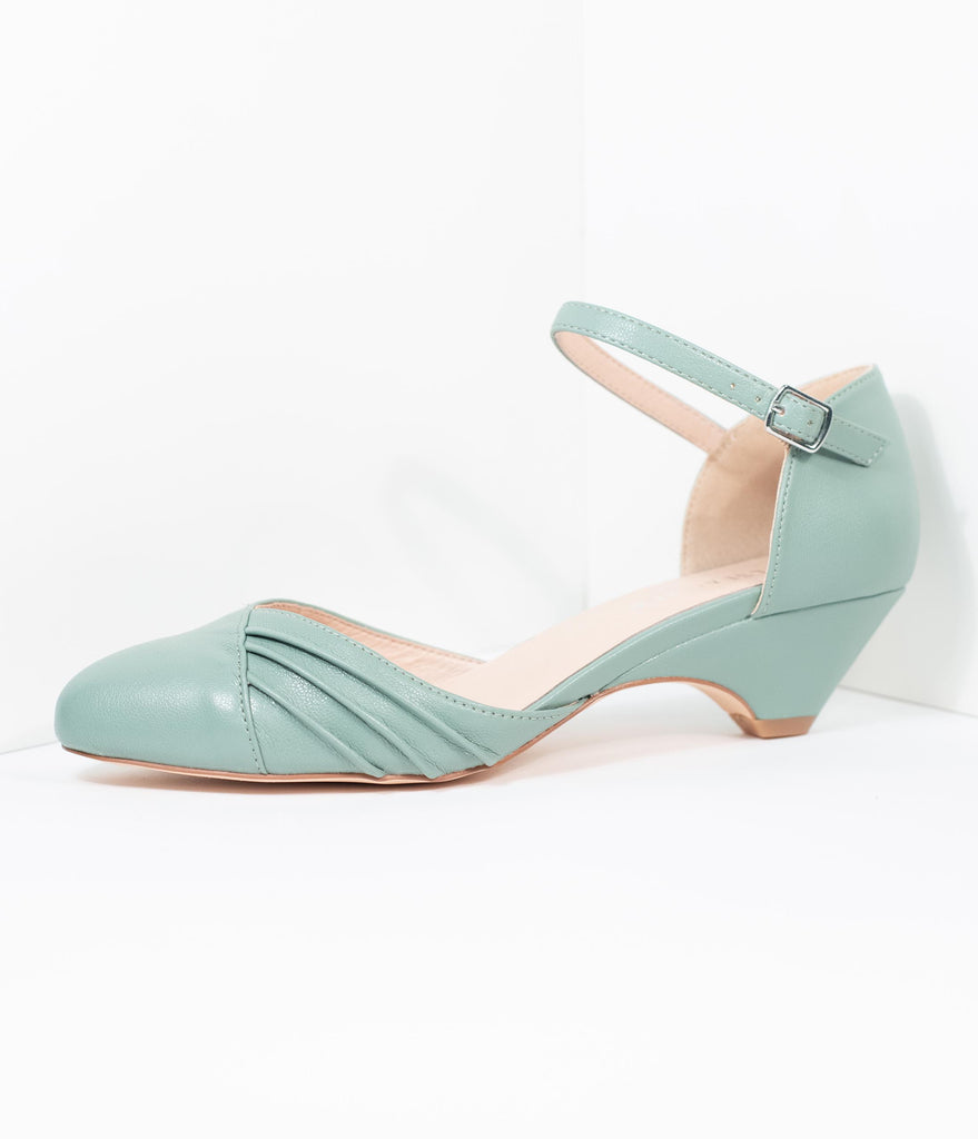 Chelsea Crew Dusty Mint Leatherette Perina Low Heel