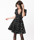 Smak Parlour Black Velvet & Sparkle Plaid Girl Power Fit & Flare Dress